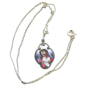 1930's Vintage Medal Hand Painted & Enameled on Sterling Silver W Chain ECCE HOMO