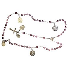 1910 Amethyst Bohemian Crystal and Sterling Silver Catholic Rosary Many Rare Medals – French - XXR
