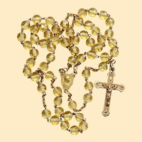 Catholic Vintage Rosary New Old Stock Citrine Crystal Vermeil Exquisite Series No 1