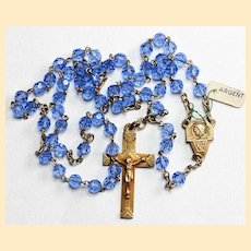 Catholic Vintage Rosary New Old Stock Blue Crystal Vermeil Exquisite Series No3