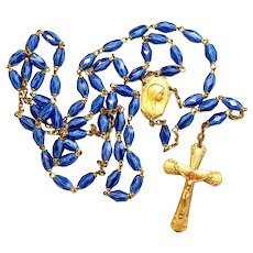 Catholic Vintage Rosary New Old Stock Blue Murano Glass Vermeil Exquisite Series No 5