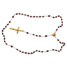 Catholic Vintage Rosary New Old Stock Cognac Amber Glass Enamel & Vermeil Exquisite Series No 9