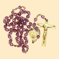 Catholic Vintage Rosary New Old Stock Amethyst Crystal Vermeil Exquisite Series No 6