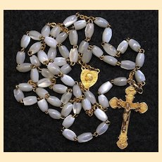 Catholic Vintage Rosary New Old Stock M.O.P. & Vermeil Exquisite Series No 7