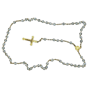 Catholic Vintage Rosary New Old Stock Bohemian Crystal Vermeil Exquisite Series No 8