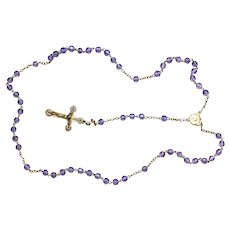 Catholic Vintage Rosary New Old Stock Lilac Crystal Vermeil Exquisite Series No 11