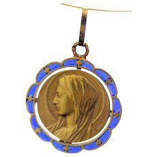 Vintage 18 K Gold Plique-à-Jour Virgin Mary Pendant Medal 1930's by Mazzoni - Very Rare