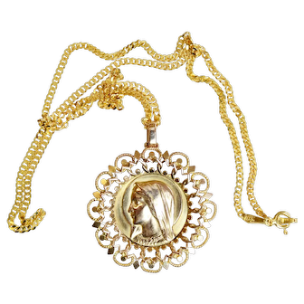 Vintage 18K. Solid Gold Open Work Large Medal Virgin Mary w Chain - 1920's by Dropsy