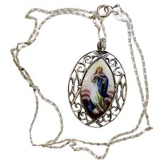 Late XIXth Cent Vintage Medal Mary's Assumption Hand Painted in Open Work Sterling Frame