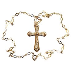 Vintage Cross Pendant w Chain Both 18K. Solid Gold Open Work - V. Special