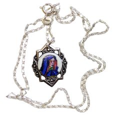 1920's Vintage Medal Our Lady Mary Hand Painted Enameled w Sterling Silver Chain