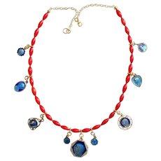 Coral & Vermeil necklace w 9 Vintage Blue enameled medals on both sides