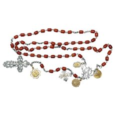 DD 1928 a Vintage Catholic Rosary Butterscotch Baltic Amber & Sterling w 18K Solid Gold Medals - Extreme Rarity