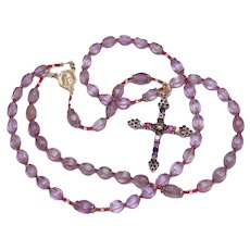 3 Ways Wearable Catholic Rosary in Carved Ametrine with Sterling Silver Jewel Cross - Fatima Center