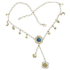 Vermeil Enamel Necklace with Vintage Charms and Religious Medals