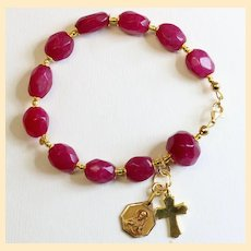 Catholic Rosary Bracelet Faceted Genuine Ruby Beads, Vintage Medal & Vermeil