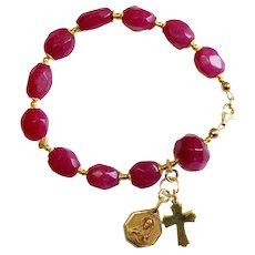 Catholic Rosary Bracelet Faceted Genuine Ruby Beads, Vintage Medal & Vermeil