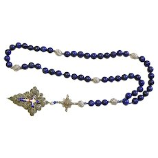 Vintage Bavarian Biedermeier Lapis & Filigree Catholic Rosary w. Credo and Reliquary Porcelain Inlay Crosses