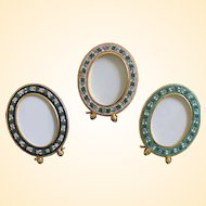 Lot of 3 Vintage Micromosaic Oval Picture Frames New Old Stock Rare & Pristine