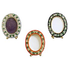 Lot of 3 Vintage Micromosaic Small Oval Picture Frames New Old Stock Rare & Pristine