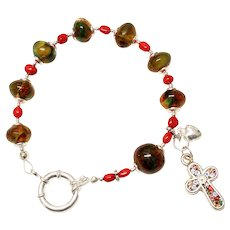 Anglican Rosary Bracelet Green Baltic Amber, Coral, Sterling Silver & Micromosaic Cross