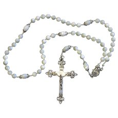 Catholic Rosary Mother Of Pearl & Sterling Vintage Cross Rosenkranz Antik Kreuz