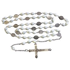 Stations of the Cross Unique Rosary all Vintage MOP & Sterling w 19th Cent Cross