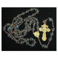 Catholic  Rosary Gold Vermeil & Vintage Bohemian Crystal
