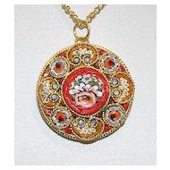 Vintage Micro Mosaic Millefiori Round Pendant W Chain 5 New Old Stock Rare