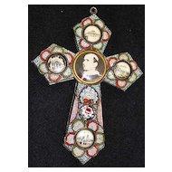 Vintage Papal micro mosaic cross - crucifix PAUL VI , 1975, Rare.