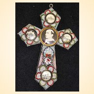 Vintage Papal micro mosaic cross - crucifix PAUL VI , 1975, Rare.