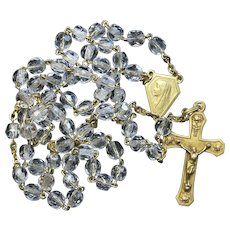 Catholic Vintage Rosary New Old Stock Bohemian Crystal Vermeil Exquisite Series No15