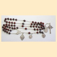 Vintage Bloodstone & Sterling Catholic Rosary 1902 Many Medals - Unique