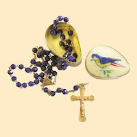 Vintage Faceted Lapis w Vermeil Catholic Rosary in Hand Painted Shell & Metal Box V. Rare, Charming