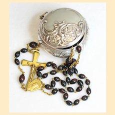 Vintage Bloodstone & Vermeil Catholic Rosary in 1830 Sterling Repoussé Box XXX Rare