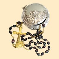 Vintage Bloodstone & Vermeil Catholic Rosary in 1830 Sterling Repoussé Box XXX Rare