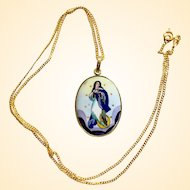 1920's Two sided Medal Our Lady Of the Immaculate Conception Hand Painted Miniature in 18K Gold Frame - V.Rare