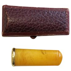 Early XXth Cent. Butterscotch Amber & 18 K. Gold Cased Small Cigar Holder Never Used RARE