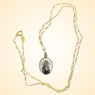 1920's Two Sided Medal Our Lady of Perpetual Help Hand Painted Enameled in 14 K. Gold Frame - RRR