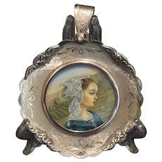 1930's Fine Miniature Hand Painting Virgin Mary in Sterling Silver Frame - Italy