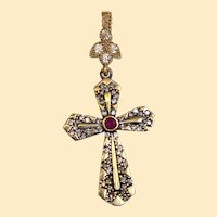 925 Sterling and Vermeil Pendant Cross with Ruby & Zircons