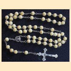 Vintage Catholic Rosary Carved Baltic Amber and Sterling in Leather & Sterling Box