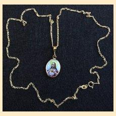 1920's Two Sided Medal Sacred Heart Hand Painted Enameled in 10 K. Gold Frame - RRR