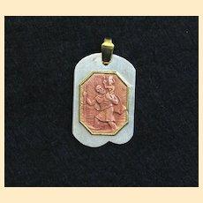 Vintage Catholic Medal St Christopher Enamel & Vermeil on Sterling Silver