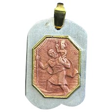 Vintage Catholic Medal St Christopher Enamel & Vermeil on Sterling Silver