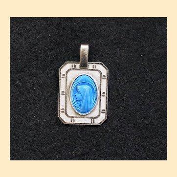 Catholic Medal Virgin Mary Blue Enamel in Sterling Silver Frame
