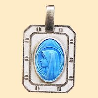 Catholic Medal Virgin Mary Blue Enamel in Sterling Silver Frame