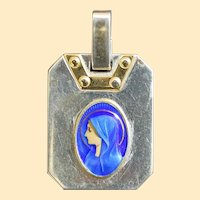 Catholic Medal Virgin Mary Limoges Polychrome Enamel in Sterling Silver and Vermeil Frame - Rare