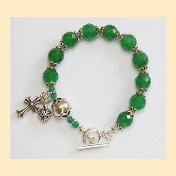 Catholic Rosary Bracelet Faceted Genuine Emerald & Sterling Silver