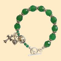 Catholic Rosary Bracelet Faceted Genuine Emerald & Sterling Silver